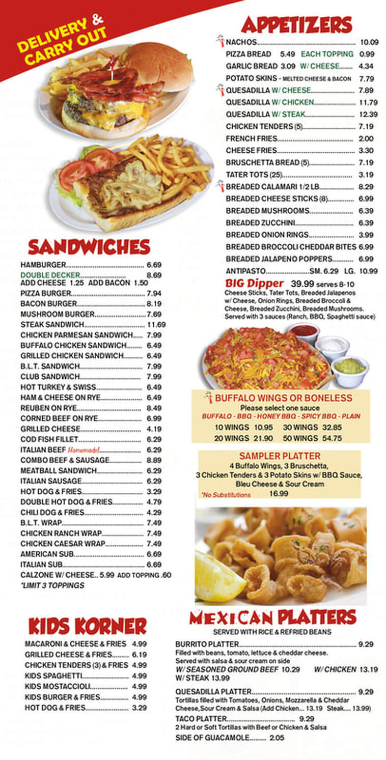 picture regarding Papa Johns Printable Menu identified as MENUS - Papa Peros Family members Cafe.